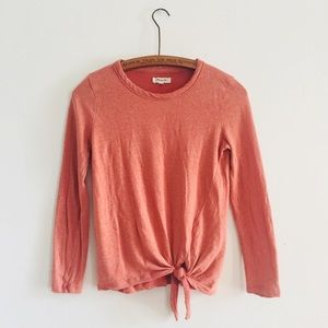 Madewell Orange Front Tie Long Sleeve Small